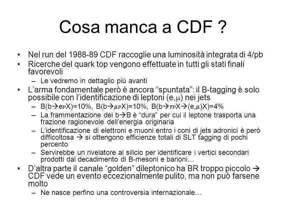 Cosa manca a CDF ? Nel run del 1988-89 CDF raccoglie una luminosità integrata di 4/pb Ricerche del quark top vengono effettuate in tutti gli stati fin