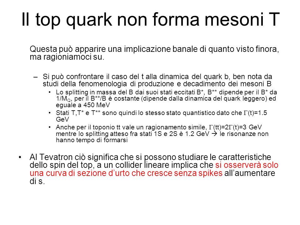 Il top quark non forma mesoni T Questa può apparire una implicazione banale di quanto visto finora, ma ragioniamoci su. –Si può confrontare il caso de