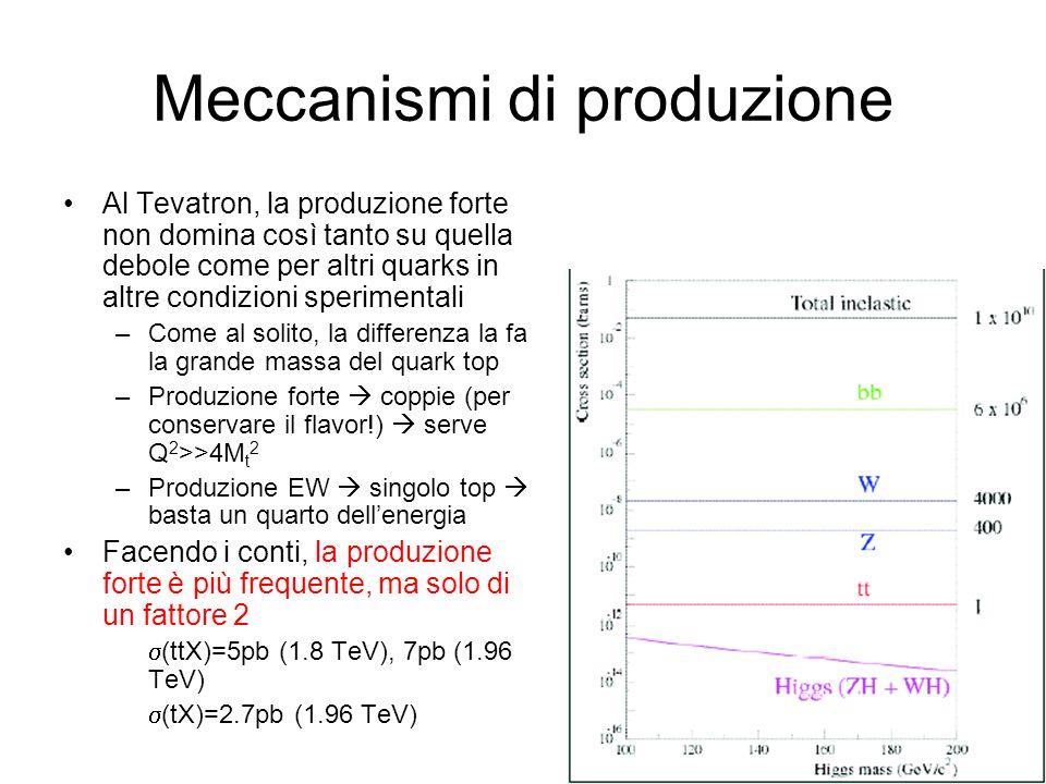 Meccanismi di produzione Al Tevatron, la produzione forte non domina così tanto su quella debole come per altri quarks in altre condizioni sperimental