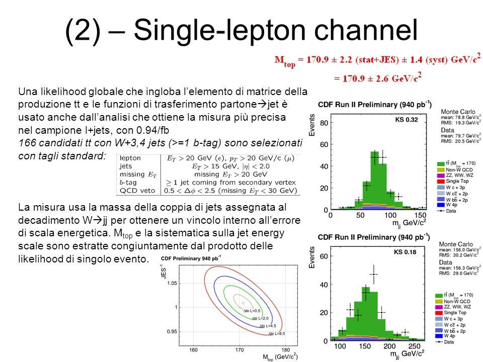 (2) – Single-lepton channel Una likelihood globale che ingloba lelemento di matrice della produzione tt e le funzioni di trasferimento partone jet è u