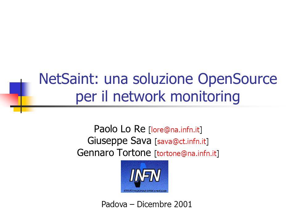 NetSaint: una soluzione OpenSource per il network monitoring Paolo Lo Re [lore@na.infn.it] Giuseppe Sava [sava@ct.infn.it] Gennaro Tortone [tortone@na