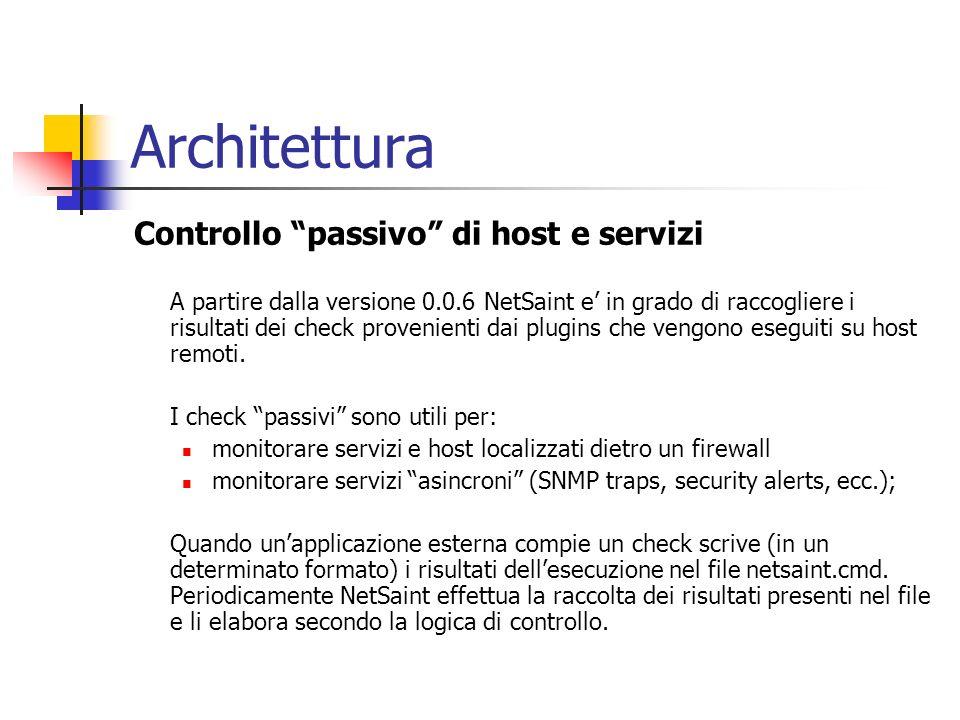Architettura Controllo passivo di host e servizi A partire dalla versione 0.0.6 NetSaint e in grado di raccogliere i risultati dei check provenienti d