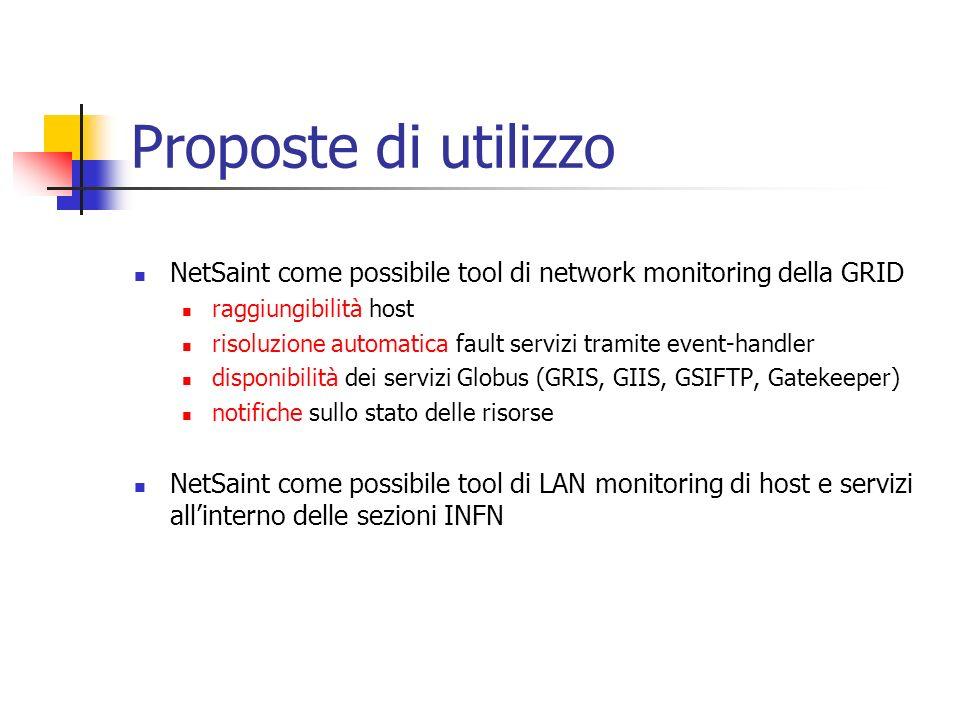 Proposte di utilizzo NetSaint come possibile tool di network monitoring della GRID raggiungibilità host risoluzione automatica fault servizi tramite e