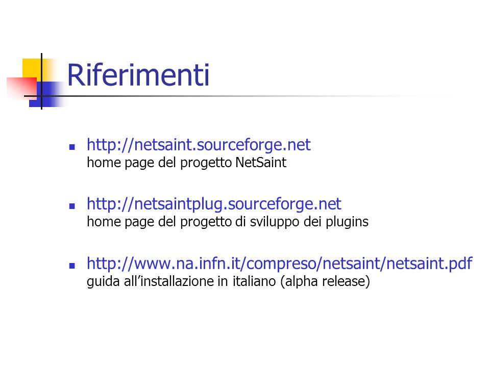 Riferimenti http://netsaint.sourceforge.net home page del progetto NetSaint http://netsaintplug.sourceforge.net home page del progetto di sviluppo dei