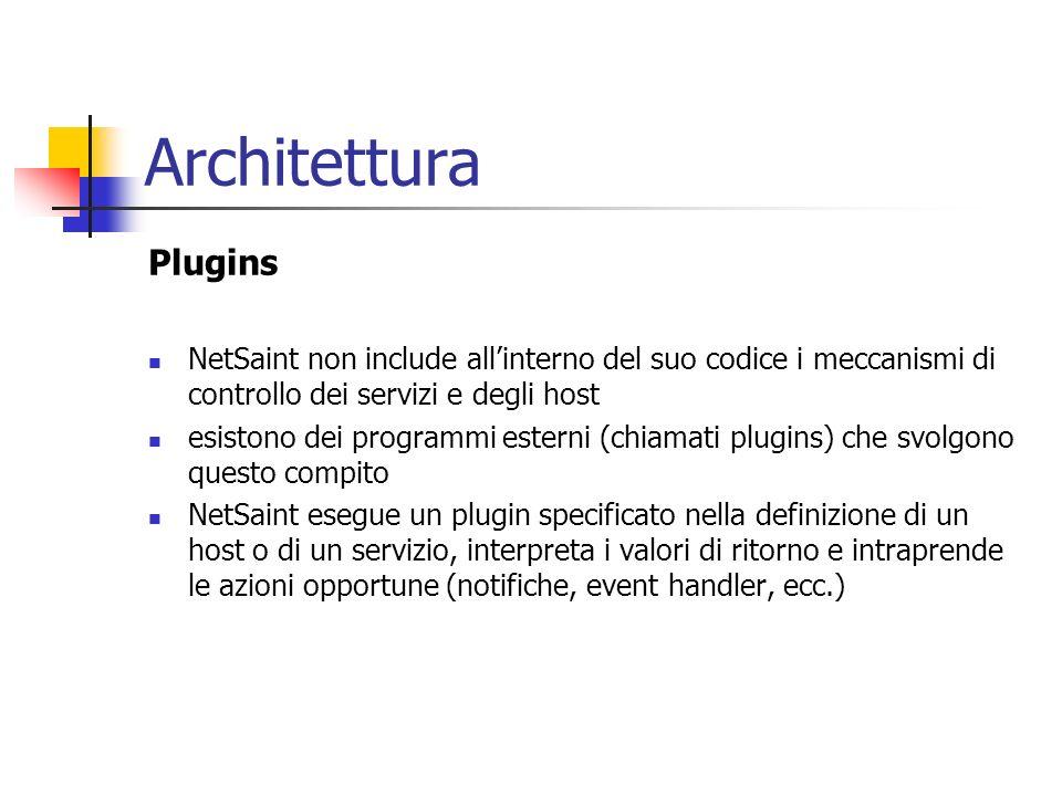 Architettura Plugins NetSaint non include allinterno del suo codice i meccanismi di controllo dei servizi e degli host esistono dei programmi esterni