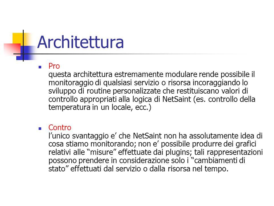 Pro questa architettura estremamente modulare rende possibile il monitoraggio di qualsiasi servizio o risorsa incoraggiando lo sviluppo di routine per