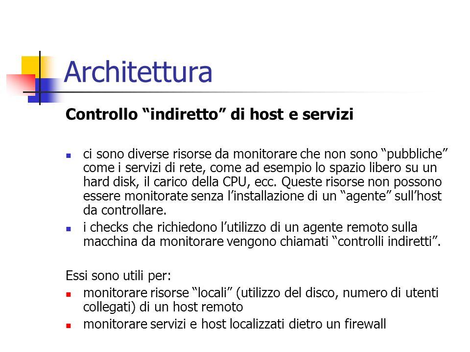 Architettura Controllo indiretto di host e servizi ci sono diverse risorse da monitorare che non sono pubbliche come i servizi di rete, come ad esempi