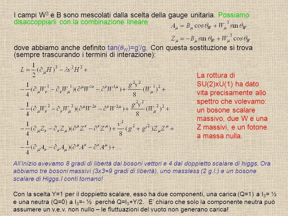 I campi W 3 e B sono mescolati dalla scelta della gauge unitaria. Possiamo disaccoppiarli con la combinazione lineare dove abbiamo anche definito tan(
