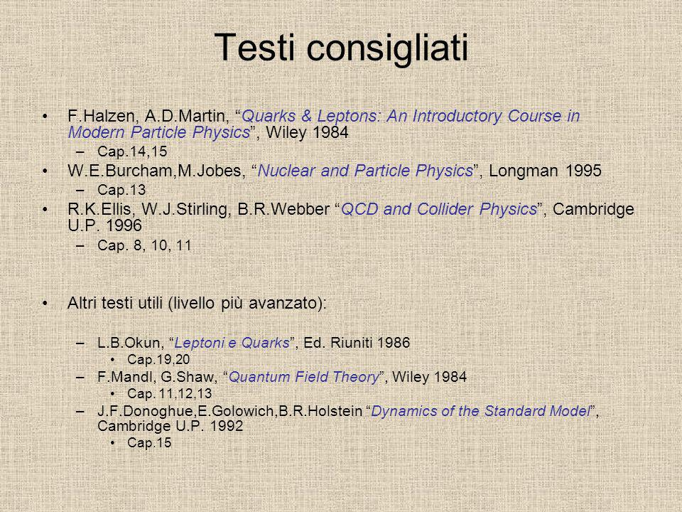 Testi consigliati F.Halzen, A.D.Martin, Quarks & Leptons: An Introductory Course in Modern Particle Physics, Wiley 1984 –Cap.14,15 W.E.Burcham,M.Jobes