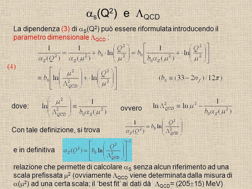s (Q 2 ) e QCD La dipendenza (3) di S (Q 2 ) può essere riformulata introducendo il parametro dimensionale QCD : (4) dove: ovvero Con tale definizione