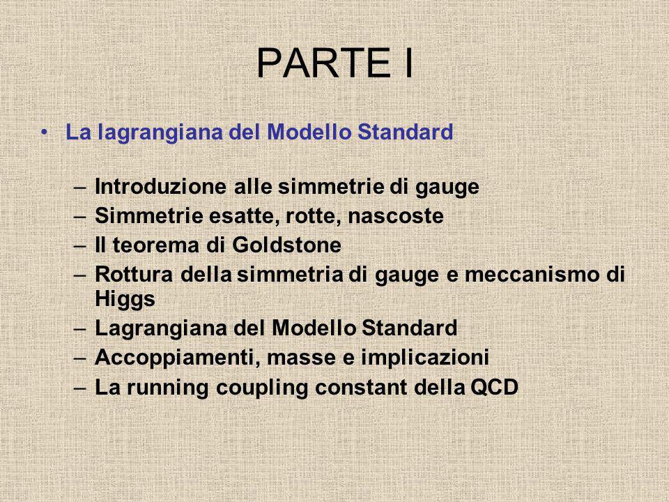 PARTE I La lagrangiana del Modello Standard –Introduzione alle simmetrie di gauge –Simmetrie esatte, rotte, nascoste –Il teorema di Goldstone –Rottura