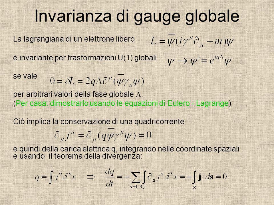 Invarianza di gauge globale La lagrangiana di un elettrone libero è invariante per trasformazioni U(1) globali se vale per arbitrari valori della fase