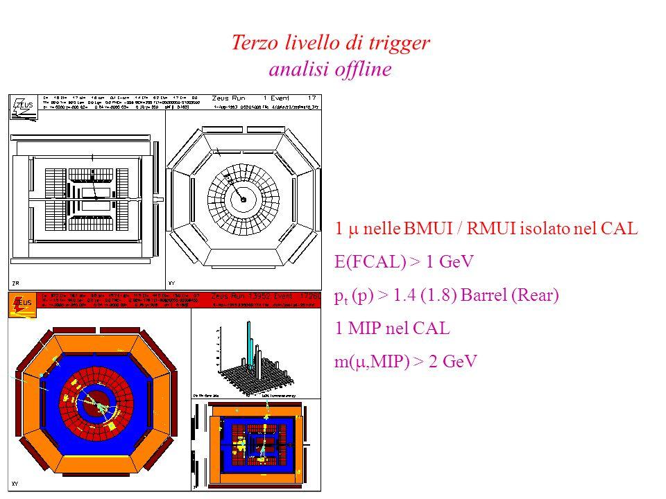 Terzo livello di trigger analisi offline 1 nelle BMUI / RMUI isolato nel CAL E(FCAL) > 1 GeV p t (p) > 1.4 (1.8) Barrel (Rear) 1 MIP nel CAL m(,MIP) >