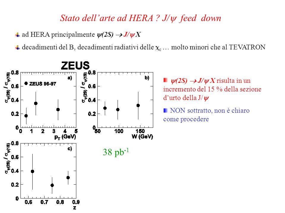 38 pb -1 ad HERA principalmente (2S) J/ X decadimenti del B, decadimenti radiativi delle c … molto minori che al TEVATRON (2S) J/ X risulta in un incr