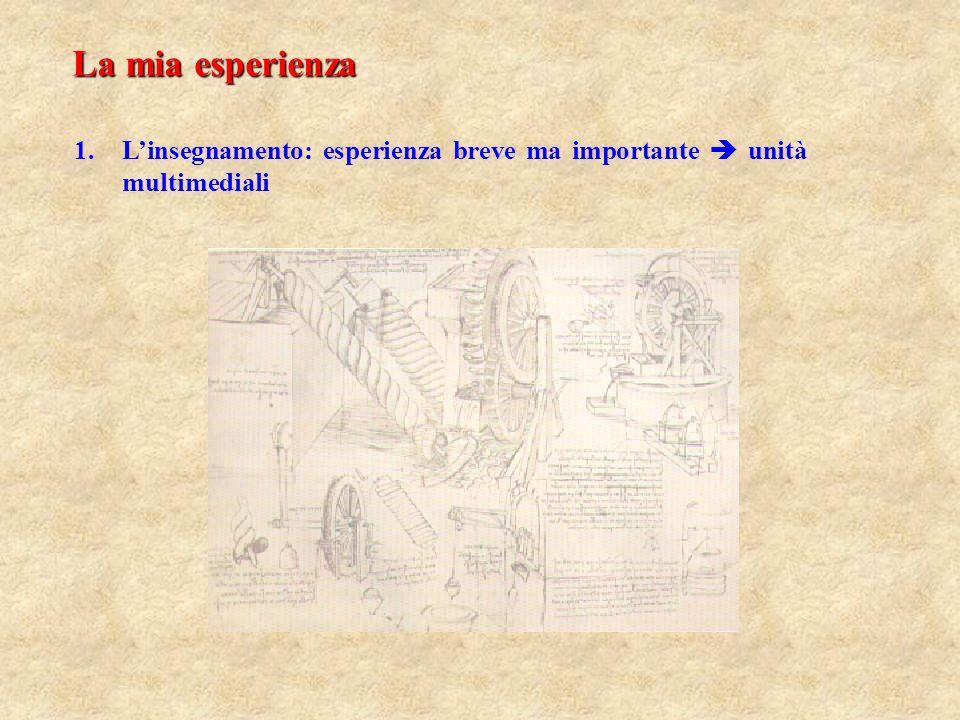 La mia esperienza 1. 1.Linsegnamento: esperienza breve ma importante unità multimediali