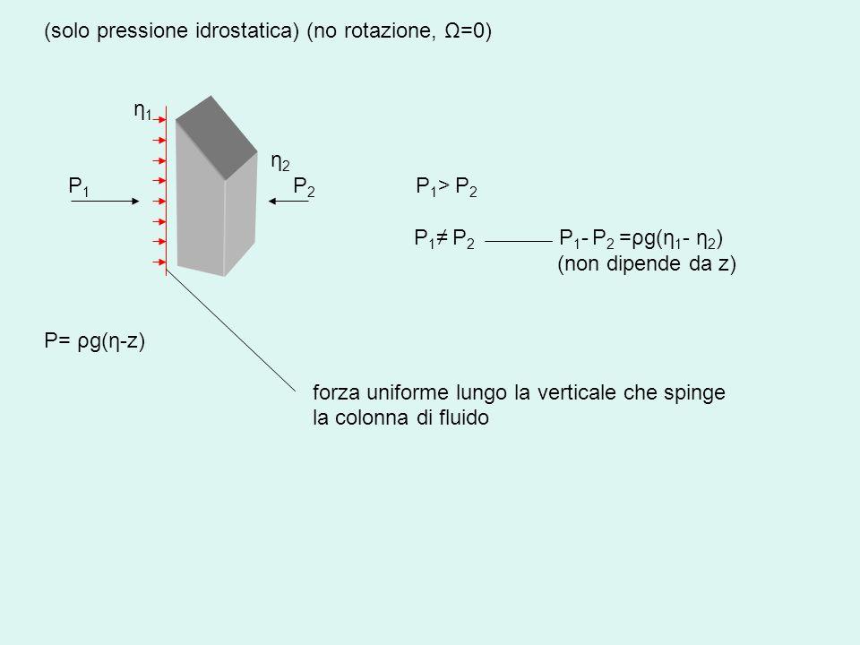 (solo pressione idrostatica) (no rotazione, Ω=0) η 1 η 2 P 1 P 2 P 1 > P 2 P 1 P 2 P 1 - P 2 =ρg(η 1 - η 2 ) (non dipende da z) P= ρg(η-z) forza unifo