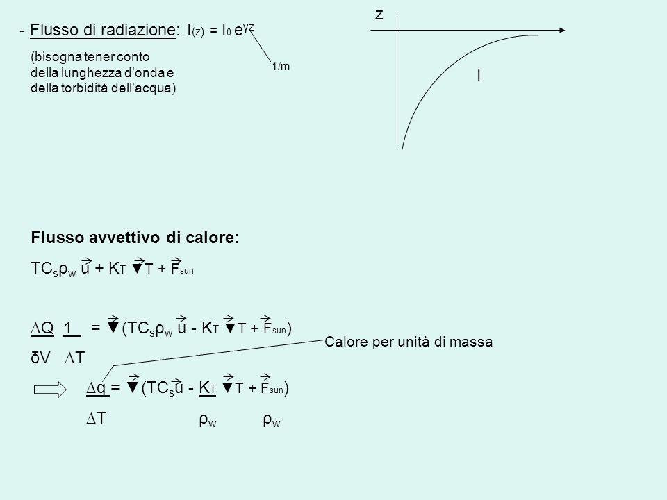- Flusso di radiazione: I (z) = I 0 e γz 1/m z I (bisogna tener conto della lunghezza donda e della torbidità dellacqua) Flusso avvettivo di calore: T