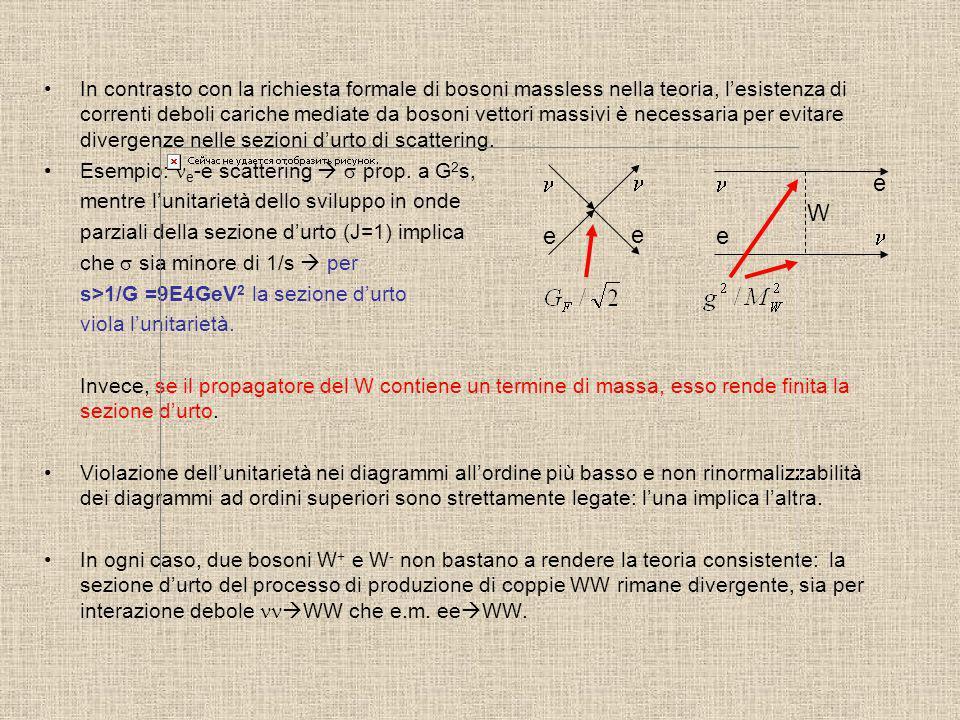 In contrasto con la richiesta formale di bosoni massless nella teoria, lesistenza di correnti deboli cariche mediate da bosoni vettori massivi è neces