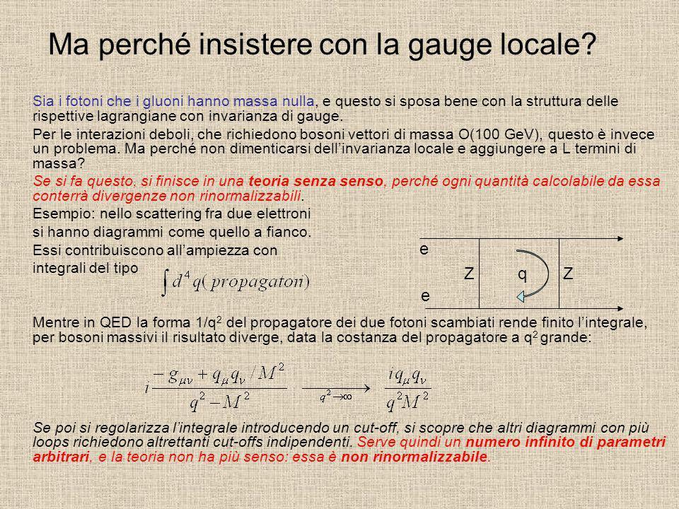 Ma perché insistere con la gauge locale? Sia i fotoni che i gluoni hanno massa nulla, e questo si sposa bene con la struttura delle rispettive lagrang