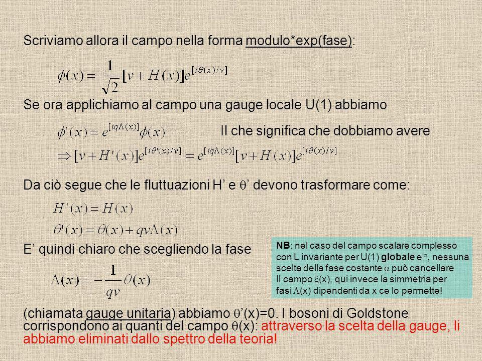 Scriviamo allora il campo nella forma modulo*exp(fase): Se ora applichiamo al campo una gauge locale U(1) abbiamo Da ciò segue che le fluttuazioni H e