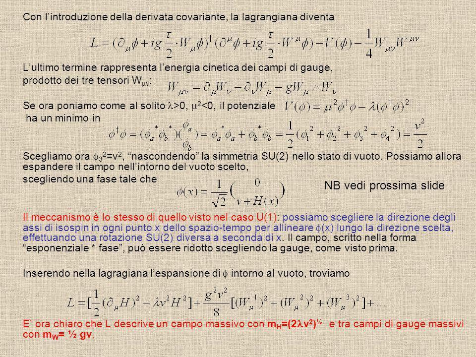 Con lintroduzione della derivata covariante, la lagrangiana diventa Lultimo termine rappresenta lenergia cinetica dei campi di gauge, prodotto dei tre