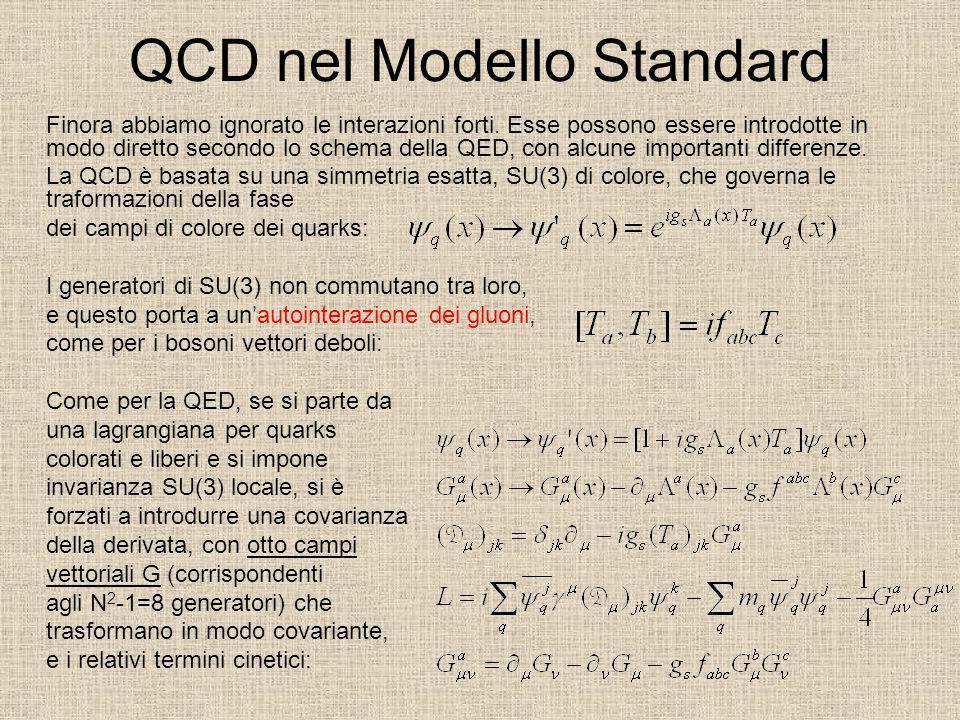 QCD nel Modello Standard Finora abbiamo ignorato le interazioni forti. Esse possono essere introdotte in modo diretto secondo lo schema della QED, con