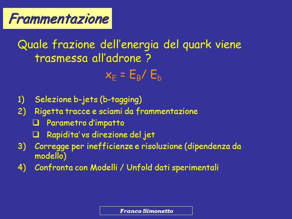 Franco Simonetto Frammentazione Quale frazione dellenergia del quark viene trasmessa alladrone ? x E = E B / E b 1)Selezione b-jets (b-tagging) 2)Rige