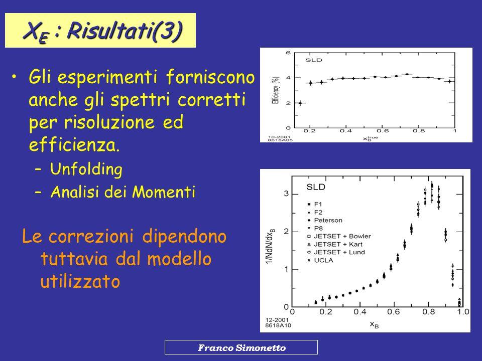 Franco Simonetto Gli esperimenti forniscono anche gli spettri corretti per risoluzione ed efficienza. –Unfolding –Analisi dei Momenti Le correzioni di