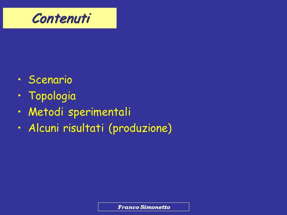 Franco Simonetto Contenuti Scenario Topologia Metodi sperimentali Alcuni risultati (produzione)