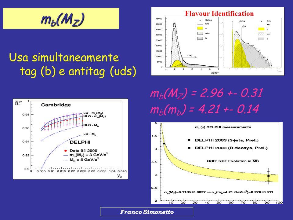 Franco Simonetto m b (M Z ) Usa simultaneamente tag (b) e antitag (uds) Flavour Identification m b (M Z ) = 2.96 +- 0.31 m b (m b ) = 4.21 +- 0.14