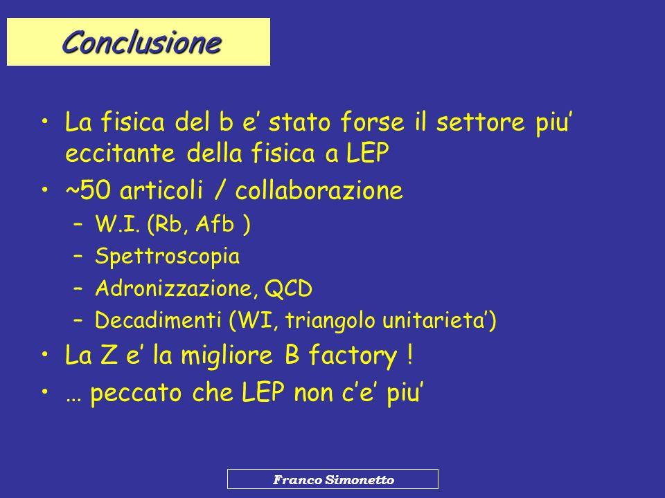 Franco Simonetto Conclusione La fisica del b e stato forse il settore piu eccitante della fisica a LEP ~50 articoli / collaborazione –W.I. (Rb, Afb )