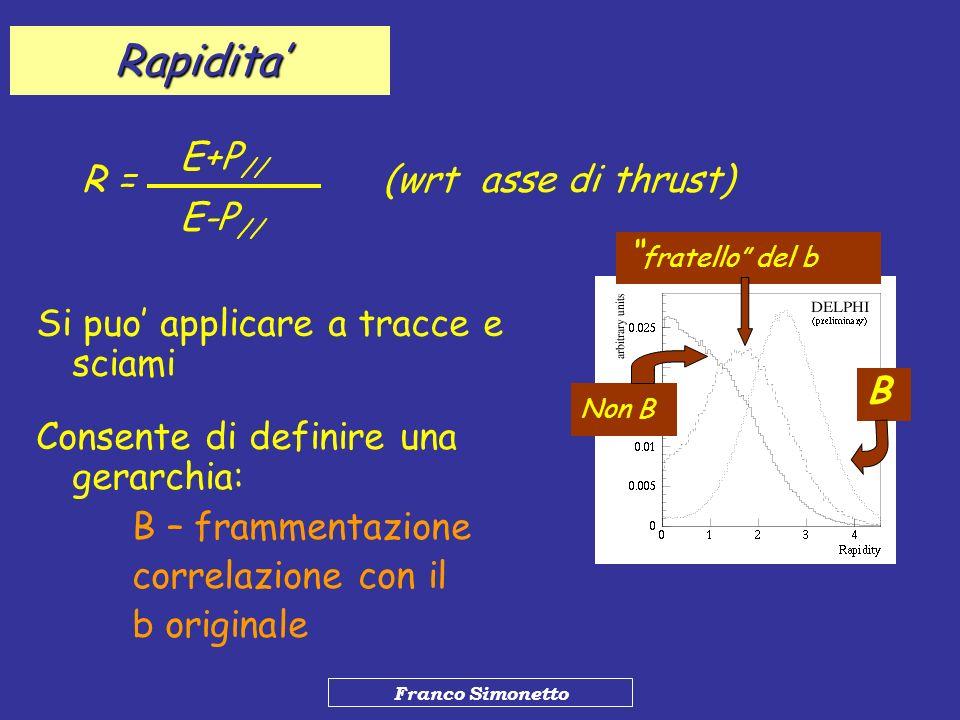 Franco Simonetto Rapidita R = E+P // E-P // (wrt asse di thrust) Si puo applicare a tracce e sciami Consente di definire una gerarchia: B – frammentaz