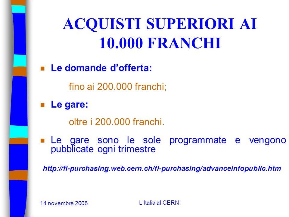 14 novembre 2005 L'Italia al CERN LE PROCEDURE DACQUISTI n Acquisti inferiori a 5.000 franchi: Effettuati senza particolare formalità; n Acquisti tra