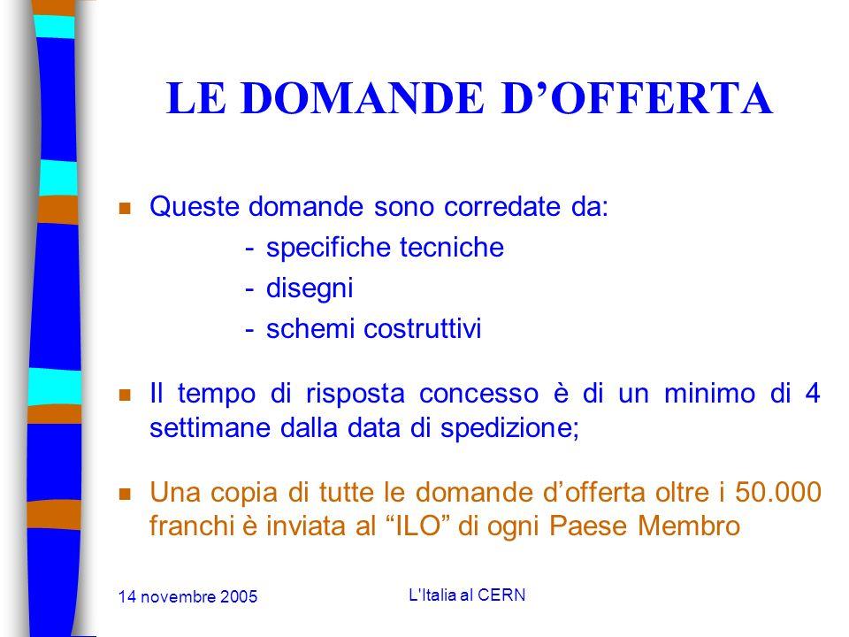 14 novembre 2005 L'Italia al CERN ACQUISTI SUPERIORI AI 10.000 FRANCHI n Le domande dofferta: fino ai 200.000 franchi; n Le gare: oltre i 200.000 fran