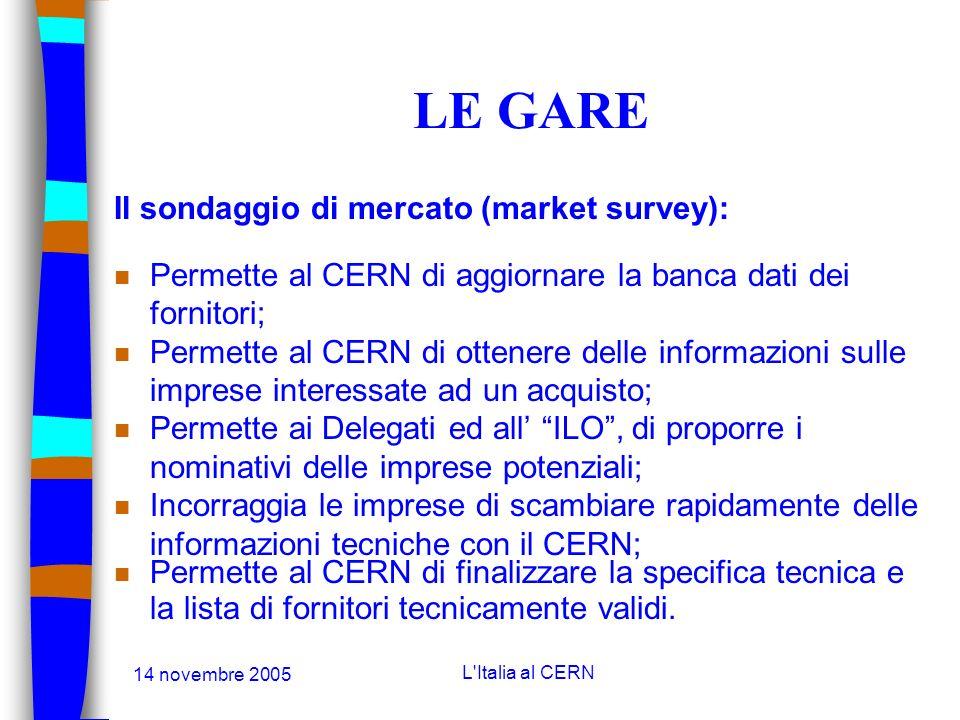 14 novembre 2005 L'Italia al CERN LE AGGIUDICAZIONI n Le aggiudicazioni sono fatte sulla base di prezzi: Franco Fabbrica (Ex-works) n Il criterio di a