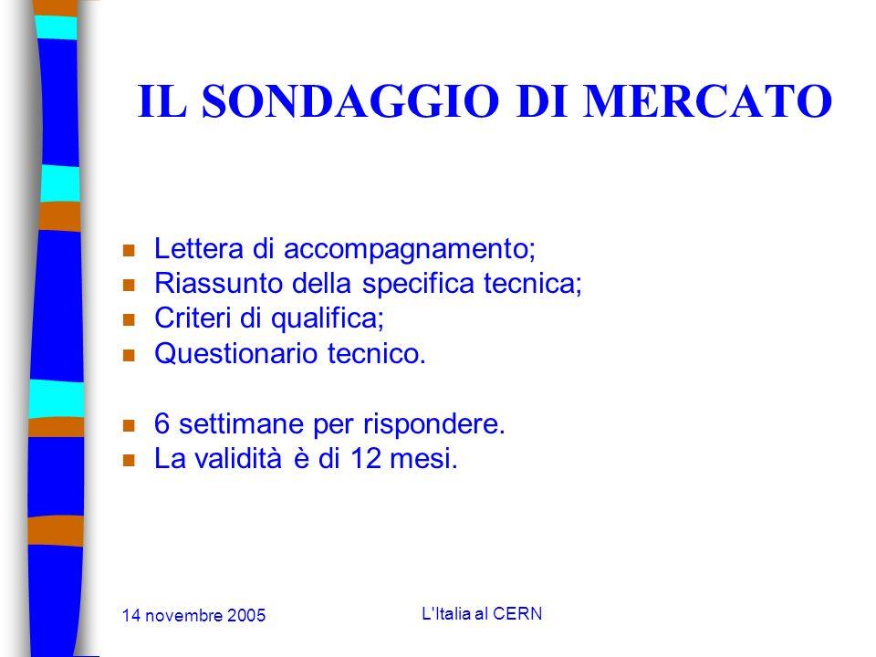 14 novembre 2005 L'Italia al CERN LE GARE Il sondaggio di mercato (market survey): n Permette al CERN di aggiornare la banca dati dei fornitori; n Per