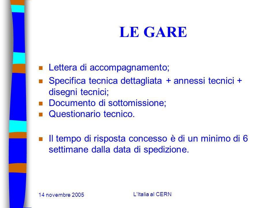 14 novembre 2005 L'Italia al CERN IL SONDAGGIO DI MERCATO n Lettera di accompagnamento; n Riassunto della specifica tecnica; n Criteri di qualifica; n