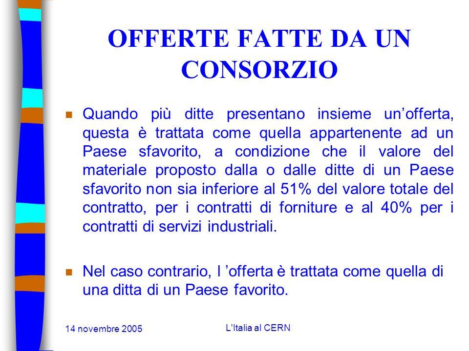 14 novembre 2005 L'Italia al CERN PAESI FAVORITI n Per le gare inviate tra il 01.03.2005 et il 28.02.2006 i Paesi favoriti, per i contratti di fornitu