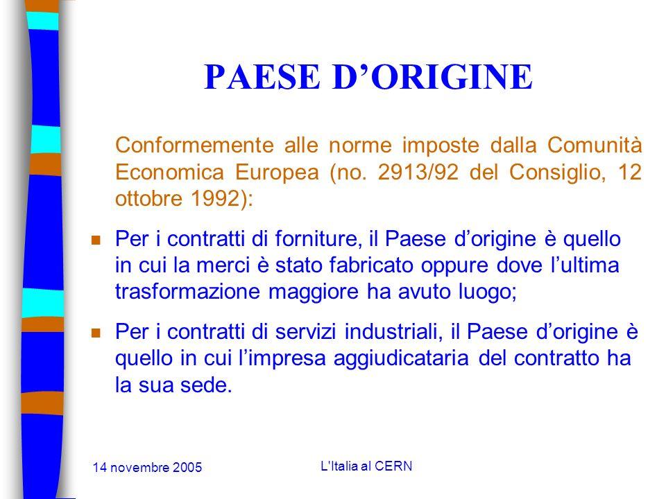 14 novembre 2005 L'Italia al CERN LE AGGIUDICAZIONI n Le gare: n Quando lofferta più bassa è fatta da una ditta situata in un Paese in condizione sfav