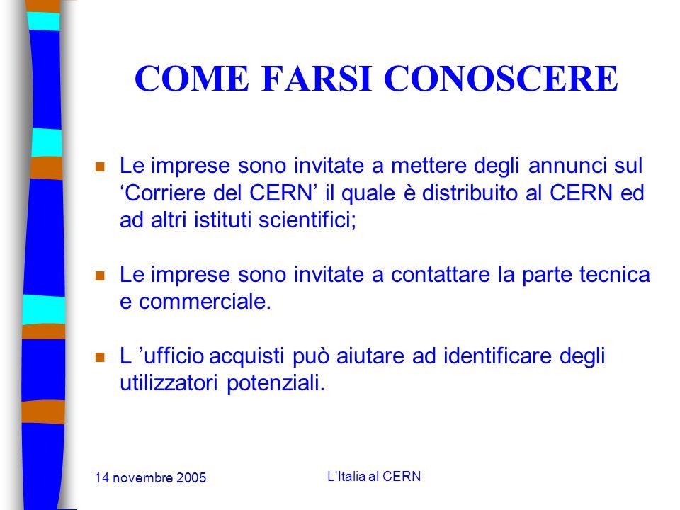 14 novembre 2005 L'Italia al CERN COME FARSI CONOSCERE n I Paesi Membri sono incoraggiati ad organizzare delle mostre nazionali al CERN: n Contatto: C