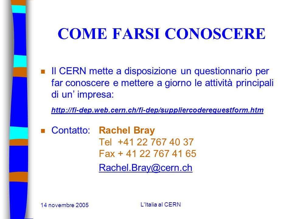 14 novembre 2005 L'Italia al CERN COME FARSI CONOSCERE n Le imprese sono invitate a mettere degli annunci sul Corriere del CERN il quale è distribuito
