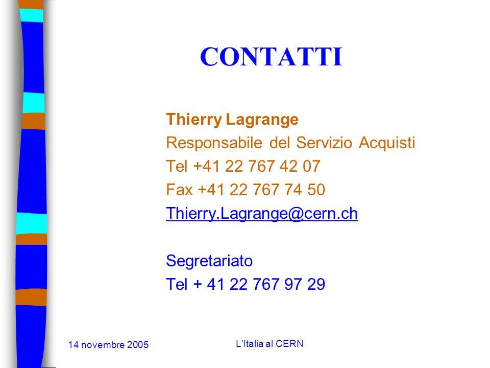 14 novembre 2005 L'Italia al CERN COME FARSI CONOSCERE n Il CERN mette a disposizione un questionnario per far conoscere e mettere a giorno le attivit
