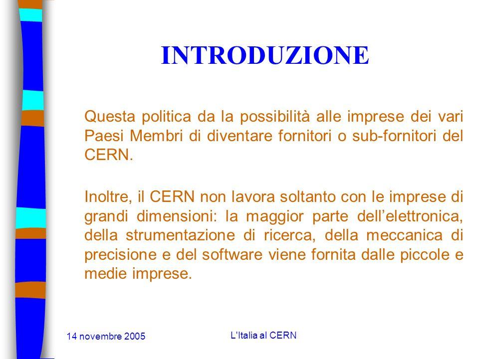 14 novembre 2005 L'Italia al CERN INTRODUZIONE Lacceleratore LHC è composto principalmente da magneti superconduttori e da un sistema centrale di crio