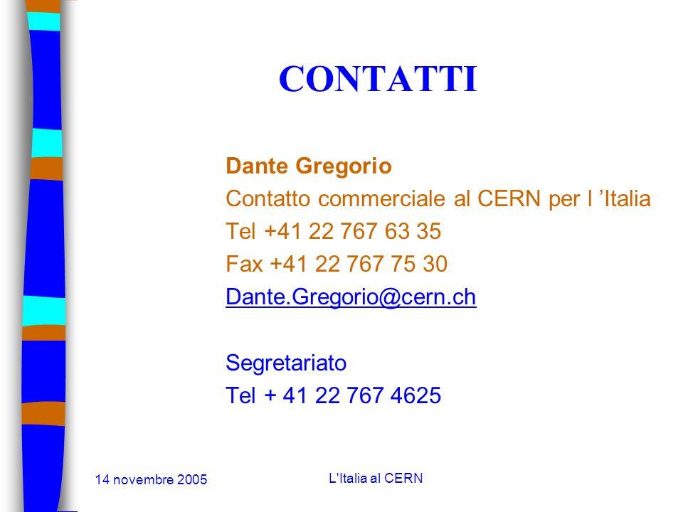 14 novembre 2005 L'Italia al CERN CONTATTI Cristina Lara Responsabile Sezione Servizi Industriali Tel +41 22 767 84 86 Fax +41 22 767 74 50 Cristina.L