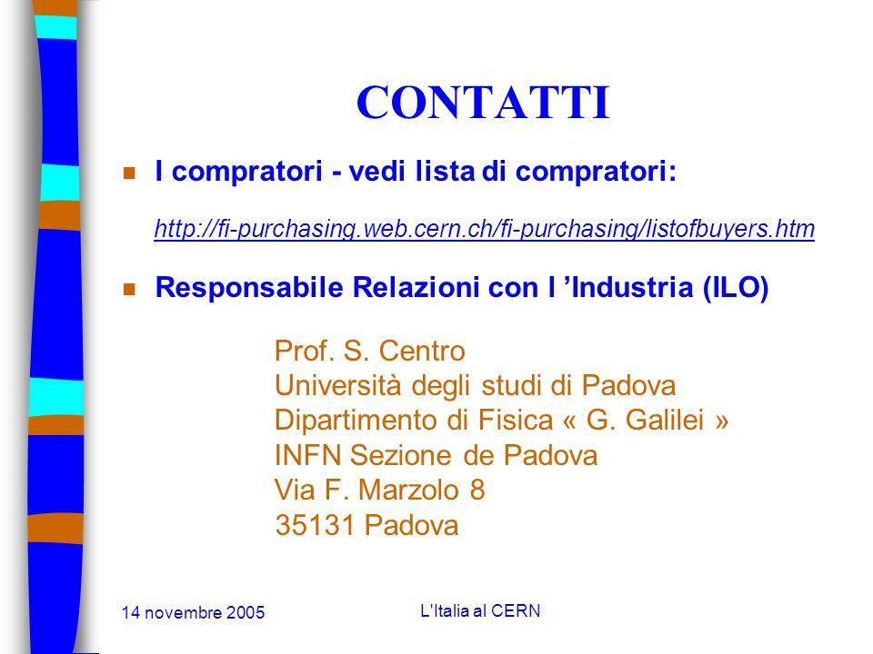 14 novembre 2005 L'Italia al CERN CONTATTI Dante Gregorio Contatto commerciale al CERN per l Italia Tel +41 22 767 63 35 Fax +41 22 767 75 30 Dante.Gr
