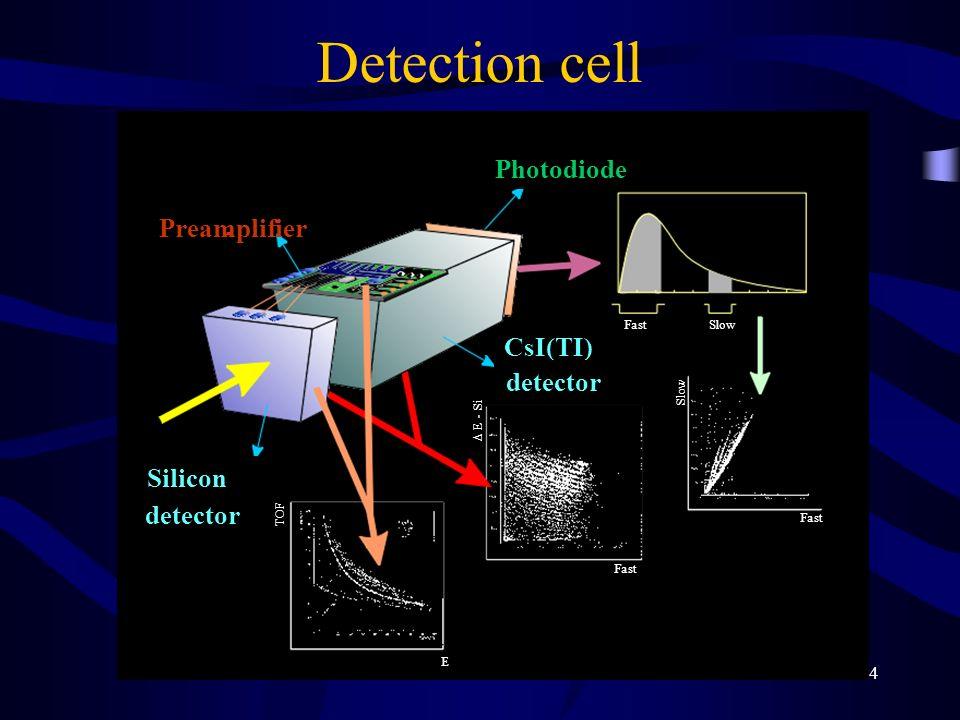 4 Preamplifier Photodiode Silicon detector CsI(TI) detector TOF E FastSlow Fast Slow Fast E - Si Detection cell