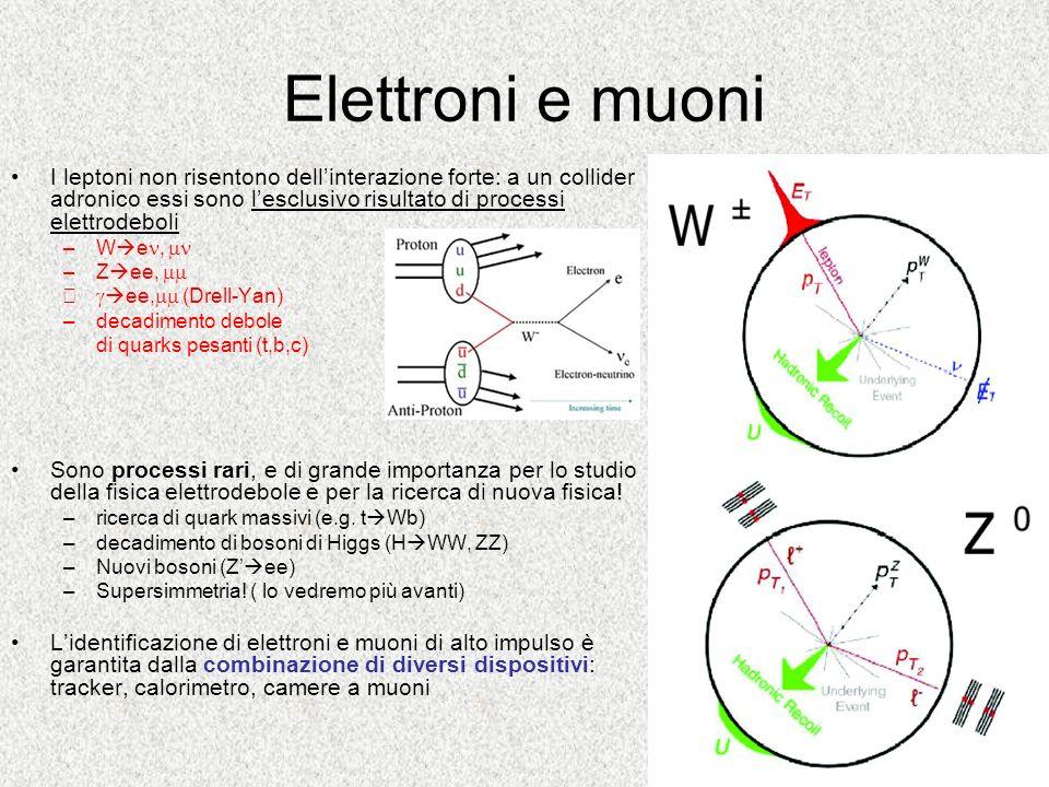 Elettroni e muoni I leptoni non risentono dellinterazione forte: a un collider adronico essi sono lesclusivo risultato di processi elettrodeboli –W e,