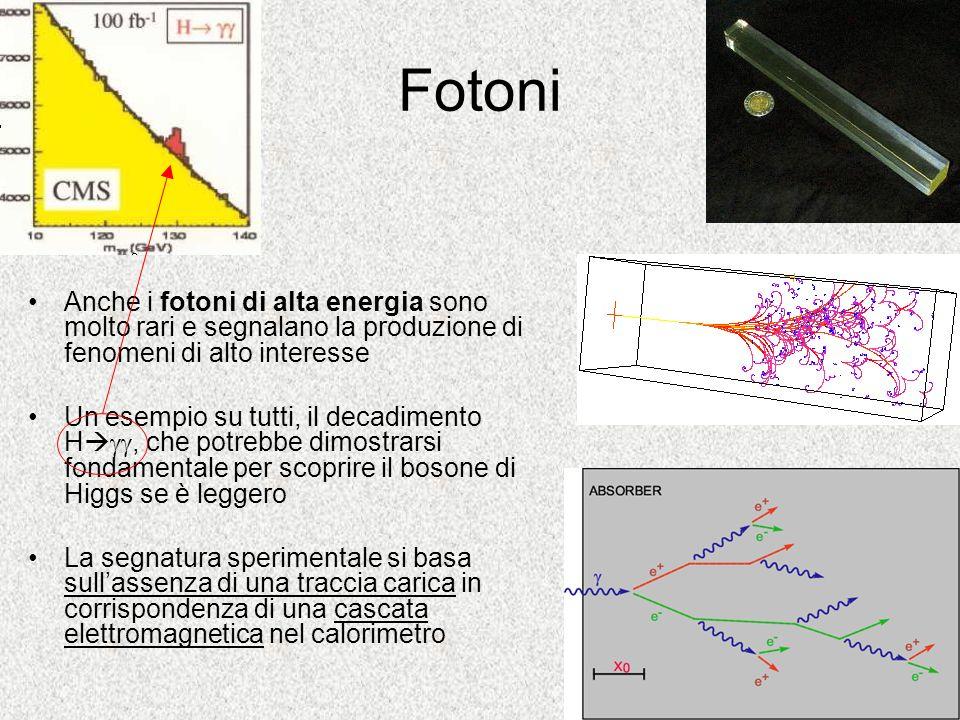 Fotoni Anche i fotoni di alta energia sono molto rari e segnalano la produzione di fenomeni di alto interesse Un esempio su tutti, il decadimento H, c
