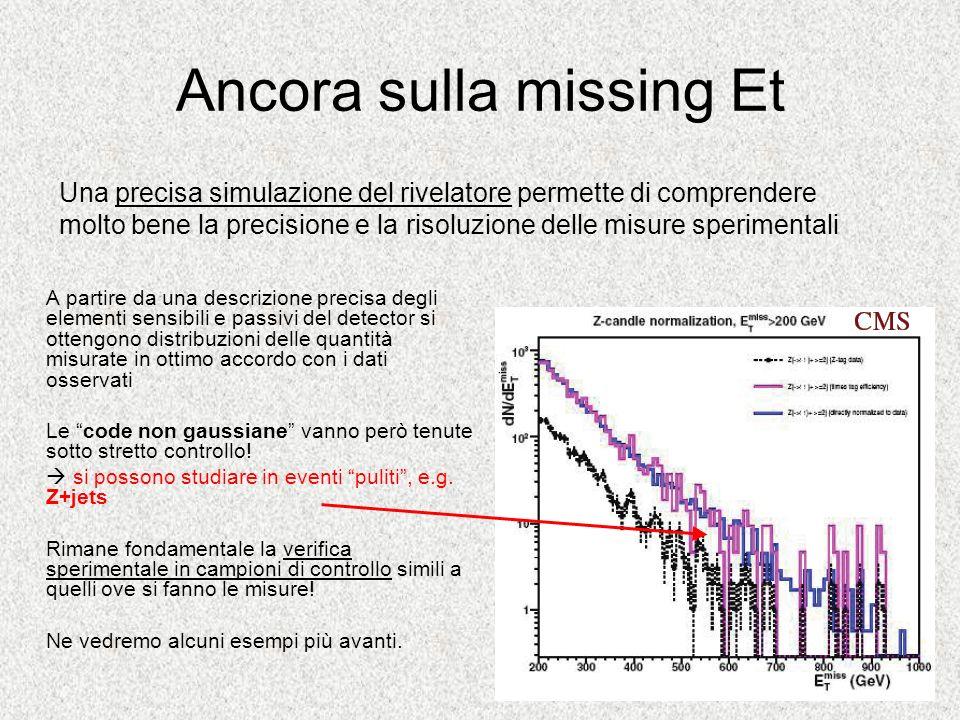 Ancora sulla missing Et A partire da una descrizione precisa degli elementi sensibili e passivi del detector si ottengono distribuzioni delle quantità