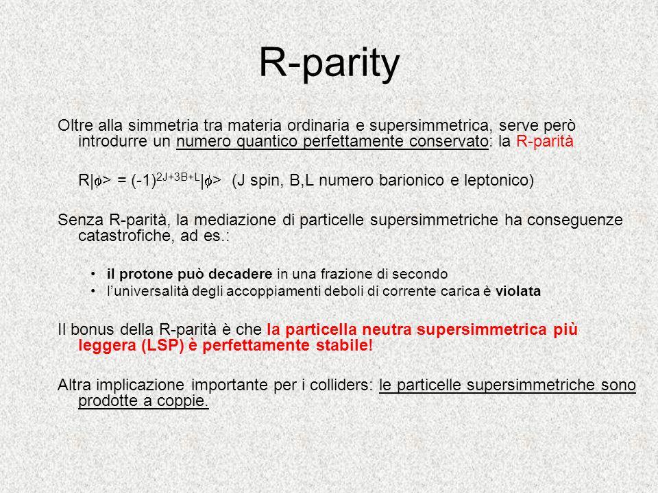 R-parity Oltre alla simmetria tra materia ordinaria e supersimmetrica, serve però introdurre un numero quantico perfettamente conservato: la R-parità